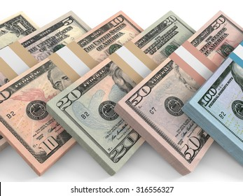 Different dollar bank notes.3D illustration.