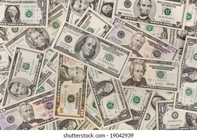 Different dollar notes background
