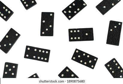 Different domino blocks isolated on white background. Popular social game