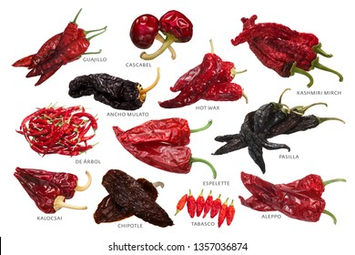 Different Dried Chile Peppers, a well-known specialties. Translation: De Arbol - a tree, Kalocsai - from Kalocsa
