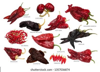 Verschiedene Paprika getrocknet Chile Pfeffer, eine bekannte Spezialitäten. Übersetzung: De Arbol - ein Baum, Kalocsai - aus Kalocsa