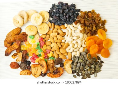 Different dried fruits and nuts mix.