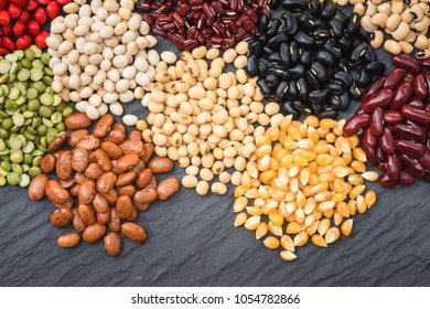 Different dried legumes for cooking, Multicolor dried bean  roganic