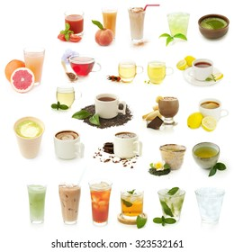 different drinks isolated on a white background, collection