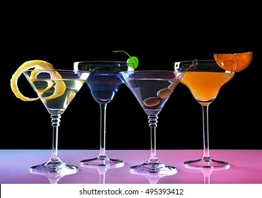 Different drinks on light table