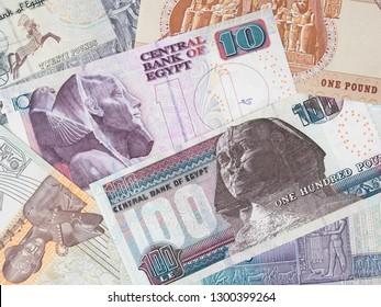 Different Egypt pounds. Egyptian money currency. Egypt economy and investment.