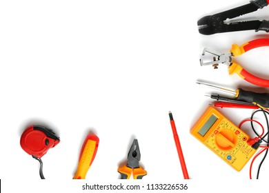 Different electrician's tools on white background