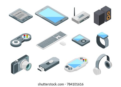 Different electronic gadgets collection. Isometric technology symbols. pictures set isolate gadget and device, digital tablet equipment illustration
