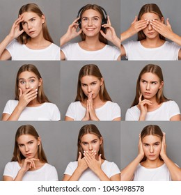 Different emotions collage. Set of beautiful blonde girl emotional portraits. Positive and negative female feelings. Young woman grimacing on camera at gray studio background