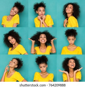 Different emotions collage. Set of beautiful african-american girl emotional portraits. Positive and negative female feelings. Young woman grimacing on camera