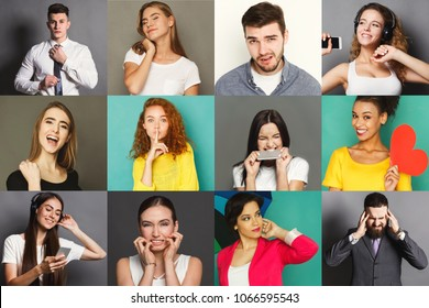 Different emotions collage. Set of male and female emotional portraits. Positive and negative feelings mosaic. Young people grimacing on camera at colorful studio backgrounds
