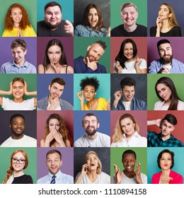 Different emotions collage. Set of male and female emotional portraits. Young diverse people grimacing and gesturing on camera at colorful studio backgrounds