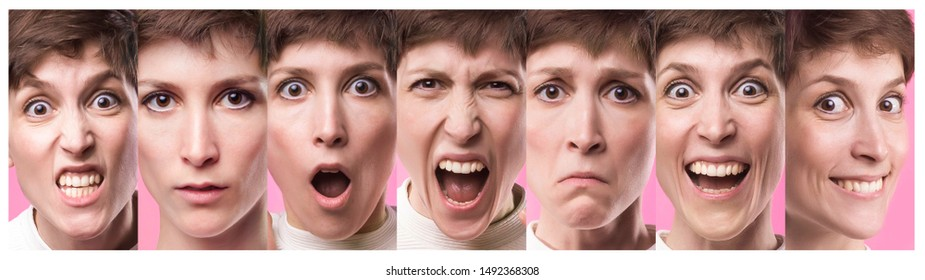 Different emotions collage. Set of young emotional woman over pink background. Female different emotions. Facial expressions concept. Trendy color. Female portraits of caucasian model at studio