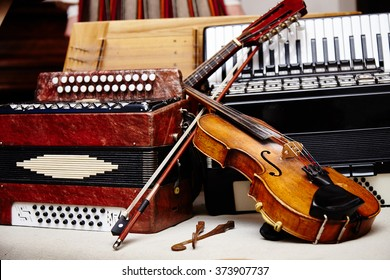Different ethnic music instruments. Save culture. Ethnic world. National instruments.