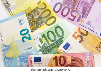 different euro banknotes for background. Much money.