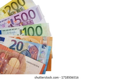 different euro banknotes isolated on white background. Copy space. Place for text.
