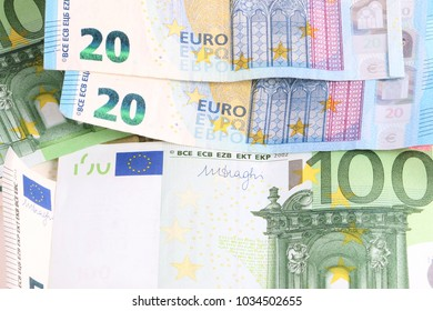 different euros lying in the studio