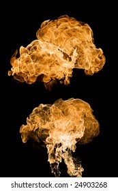Different explosion flames on black background