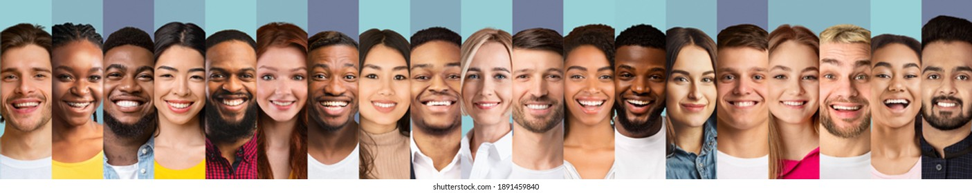 Different Faces Collage. Smiling Multiethnic Ladies And Men Looking At Camera, Row Of Portraits On Blue Studio Backgrounds. Collection Of Beautiful Human Headshots. Panorama
