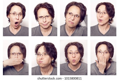 Different facial expressions. Women's emotions.