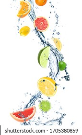 Different falling citrus fruits and splashing water on white background