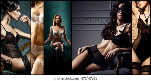 Different fashion models posing in sexy erotic underwear. Glamour, vogue, fashion concept.
