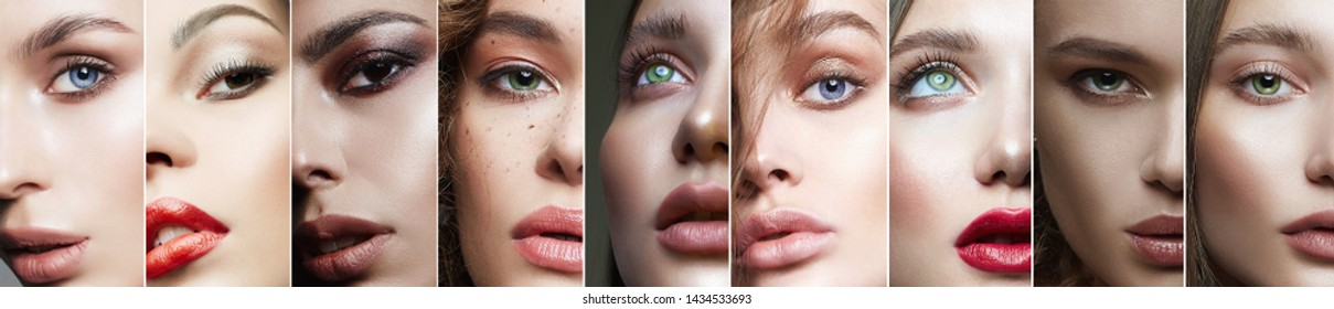Different female eyes. collage of beautiful women. beautiful girls with make-up