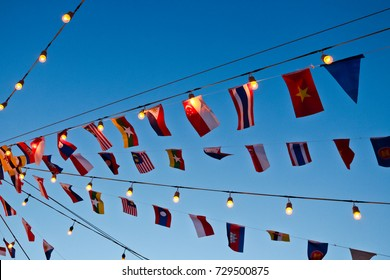 Different Flags of Southeast Asia countries, AEC, ASEAN Economic Community. That includes Vietnam, Thailand, Singapore, Malaysia, Philippines, Indonesia, Cambodia, Laos, Myanmar, and Brunei)