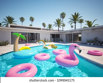 a lot of different floats in a pool. 3D rendering