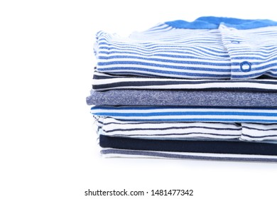Different folded baby clothes on white background