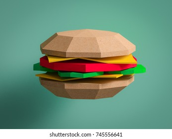 Different food from cardboard  on blue background. Cartoon food product packaging. 3D model render