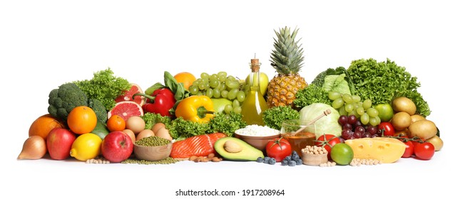 Different food products on white background. Healthy balanced diet