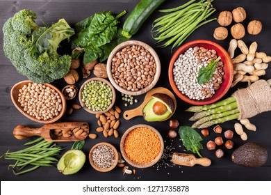 Different foods containing vegetable protein for a healthy diet.Flat lay