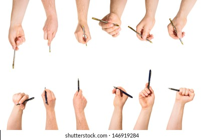 Different foreshortenings of caucasian hand holding pen isolated over white background