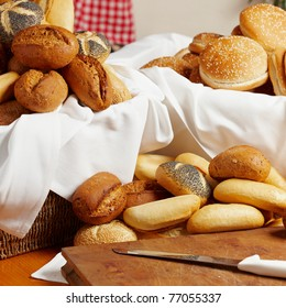 different fresh breakfast rolls on a table
