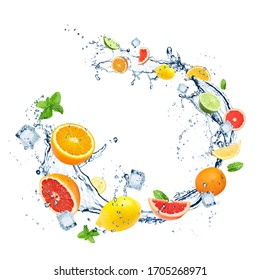 Different fresh citrus fruits, crystal ice cubes, mint and splashing water on white background