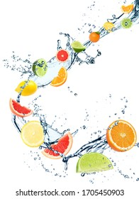 Different fresh citrus fruits and splashing water on white background