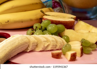 Different fresh fruits as ingredients for the vegan and healthy cuisine.