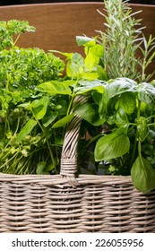 Different fresh herbs in basket on wooden background