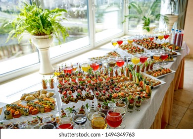 Different fresh snacks before the event. Top view