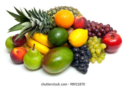 different fruits isolated on white background