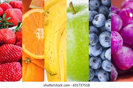 Different fruits in rainbow colors.