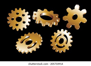 different gear wheels as a decorative background