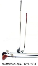 different golf clubs on white background.