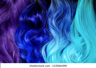 Different hair styles; ombre dyed hair: black to turquoise, blue to turquoise, black to blue, violet or purple; bright dyed hair, vivid colors, hair salon advertising