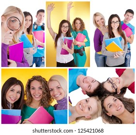 Different happy high school students with books