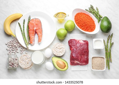 Different healthy food on light table