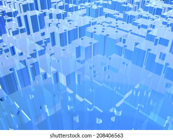 different height ray puzzle of blue color