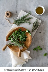 Different herbs on the table