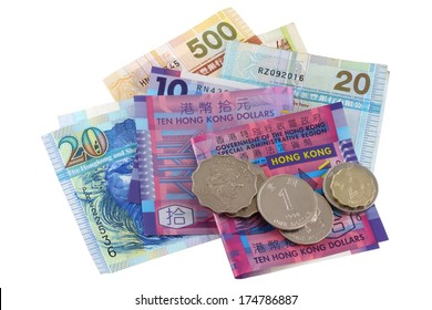 Different Hong Kong Currency money, a set of Dollar banknotes and coins isolated on white background